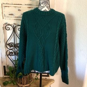 Aerie green chunky knit sweater